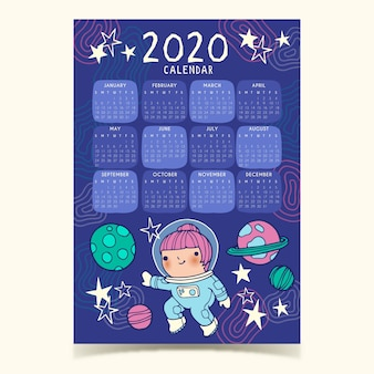 Ładny szablon kalendarza 2020