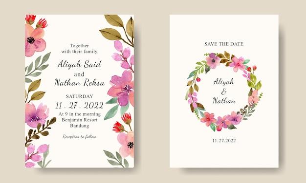 Ładny szablon karty zaproszenia ślubne z akwarelowym wieńcem kwiatowym