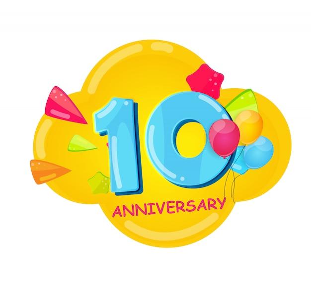Ładny szablon kreskówka 10 lat rocznicy