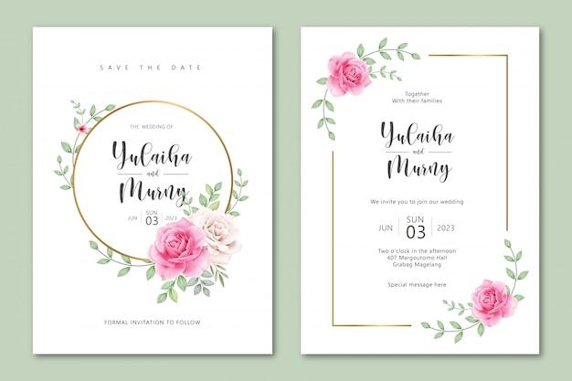 Ładny szablon zaproszenia ślubne z akwarela róż