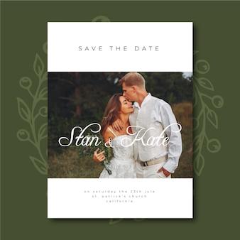 Ładny szablon zaproszenia ślubne ze zdjęciem