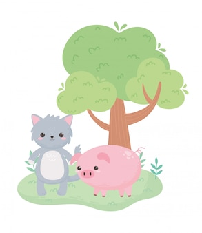 Ładny szary kot świnka i drzewo kreskówka zwierzęta w naturalnym krajobrazie