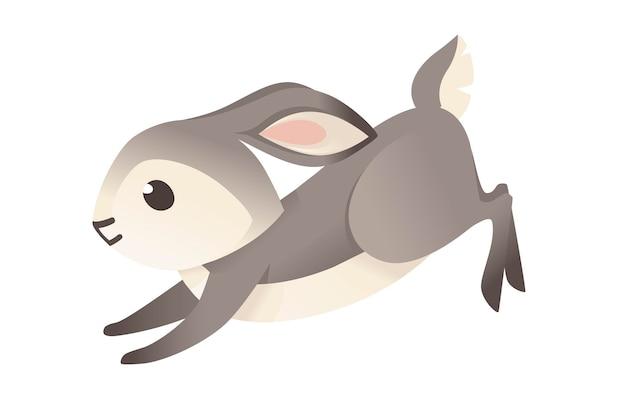 Ładny szary królik bieganie do przodu kreskówka projekt płaski wektor ilustracja na białym tle.