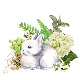 Ładny szary królik z ręcznie rysowane kwiaty