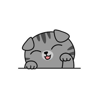 Ładny szary szkocki zwisłouchy kot kreskówka, ilustracji wektorowych