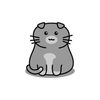 Ładny szary szkocki zwisłouchy kot kreskówka na białym tle