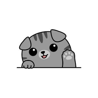 Ładny szary szkocki zwisłouchy kot macha łapa kreskówka, ilustracji wektorowych