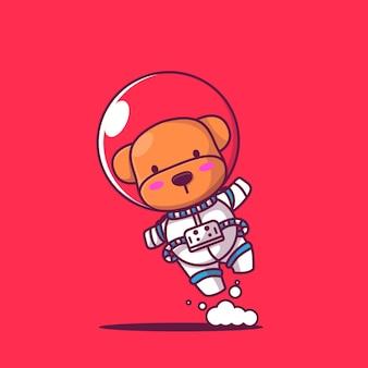 Ładny szczeniak astronauta ikona ilustracja kreskówka