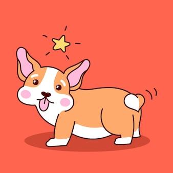 Ładny szczeniak corgi. ilustracja kreskówka wektor