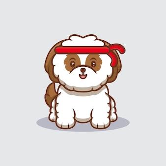 Ładny szczeniak shih-tzu na sobie czerwoną opaskę kreskówka ikona ilustracja