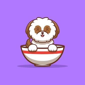 Ładny szczeniak shih-tzu siedzi wewnątrz miski ramen kreskówka ikona ilustracja