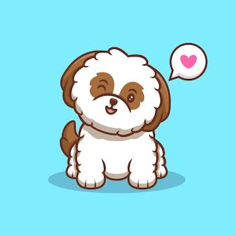 Ładny szczeniak shih-tzu uśmiechnięty kreskówka ikona ilustracja