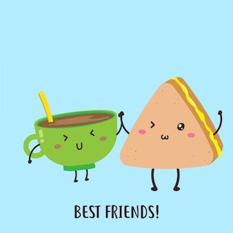 Ładny szczęśliwy filiżankę kawy i kanapki z dżemem wektor wzór