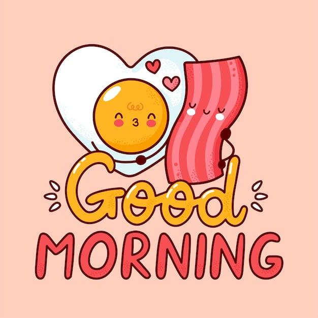 Ładny szczęśliwy jajko sadzone i bekon. ikona postaci z kreskówki kawaii płaskiej linii. ręcznie rysowane styl ilustracji. na białym tle dzień dobry koncepcja plakatu karta, jajko, bekon i serca