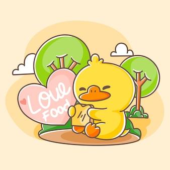 Ładny szczęśliwy kaczka jedzenie chleba pocztówka doodle ilustracja