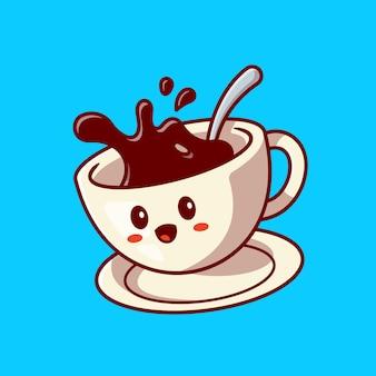 Ładny szczęśliwy kubek kawy kreskówka wektor ikona ilustracja. napój ikona koncepcja postaci. płaski styl kreskówki