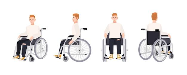 Ładny szczęśliwy młody człowiek na wózku inwalidzkim na białym tle