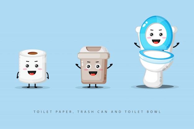 Ładny szczęśliwy papier toaletowy, kosz na śmieci i miska toaletowa