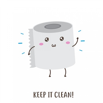 Ładny szczęśliwy papier toaletowy zachować czysty projekt wektorowy
