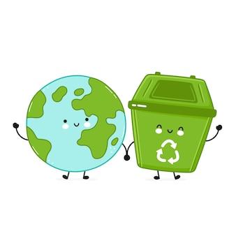 Ładny szczęśliwy pojemnik na śmieci i planeta ziemia