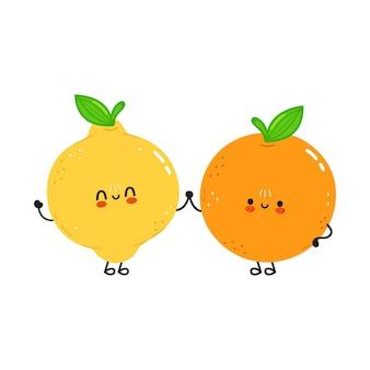Ładny szczęśliwy pomarańczowy owoc i cytryna przyjaciele koncepcja