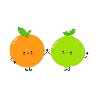 Ładny szczęśliwy pomarańczowy owoc i limonka przyjaciele koncepcja