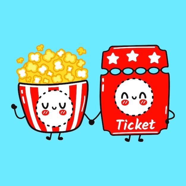 Ładny szczęśliwy popcorn i koncepcja przyjaciół biletów