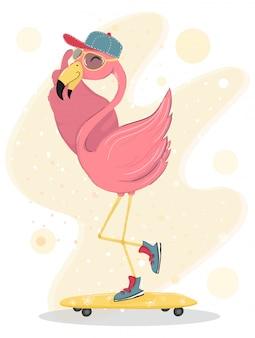 Ładny szczęśliwy różowy flaming nosić czapkę i okulary przeciwsłoneczne na deskorolce, charakter płaski element wektora