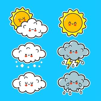Ładny szczęśliwy śmieszne ikony pogody. wektor ręcznie rysowane kreskówka kawaii charakter ilustracja naklejki logo ikona. śliczna szczęśliwa chmura, słońce, deszcz, śnieg, koncepcja postaci z kreskówki burzy