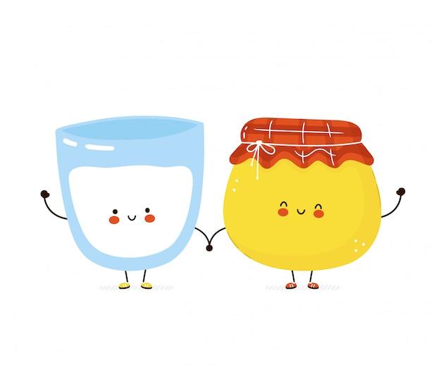 Ładny szczęśliwy szklankę mleka i słoik miodu. postać z kreskówki ilustracyjny ikona projekt. pojedynczy białe tło