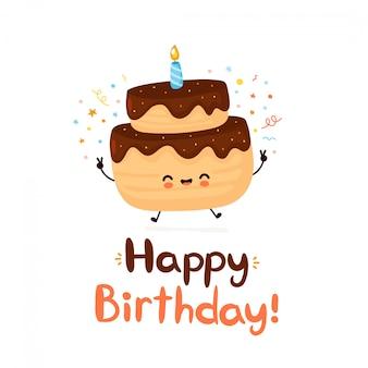 Ładny szczęśliwy tort z jedną świeczkę z okazji urodzin karty