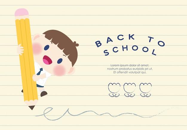 Ładny szczęśliwy uczeń podstawowej powrót do szkoły wektor