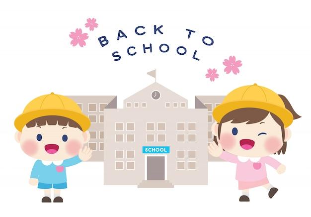 Ładny szczęśliwy uczeń z powrotem do szkoły