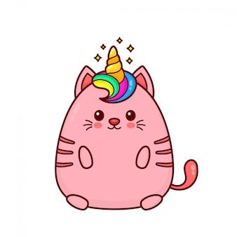 Ładny szczęśliwy uśmiechający się kot jednorożca z tęczy włosów i róg.