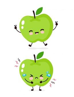 Ładny szczęśliwy uśmiechnięty i smutny charakter jabłko płacz. ikona ilustracja kreskówka płaski projekt. pojedynczo na białym tle. koncepcja postaci apple