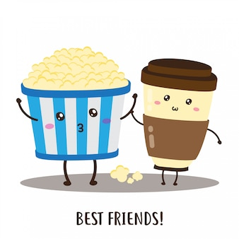 Ładny szczęśliwy wektor popcorn i kawa