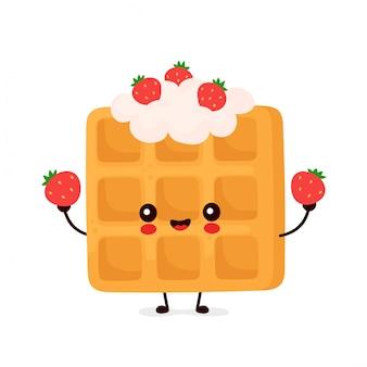 Ładny szczęśliwy zabawny belgijski gofr z truskawkami.