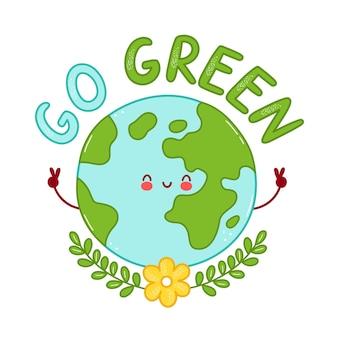 Ładny szczęśliwy zabawny charakter planety ziemi. postać z kreskówki ikona ilustracja projekt. na białym tle projekt wydruku go green