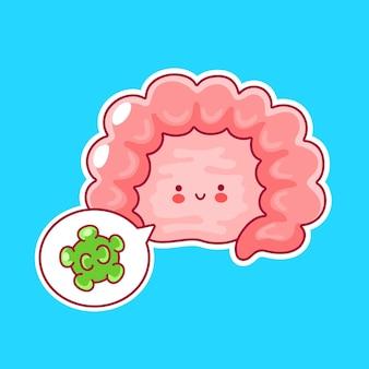 Ładny szczęśliwy zabawny ludzki narząd jelitowy i dymek z dobrymi bakteriami
