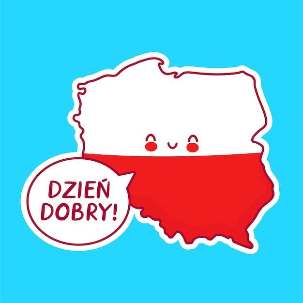 Ładny szczęśliwy zabawny mapa polski i znak flagi