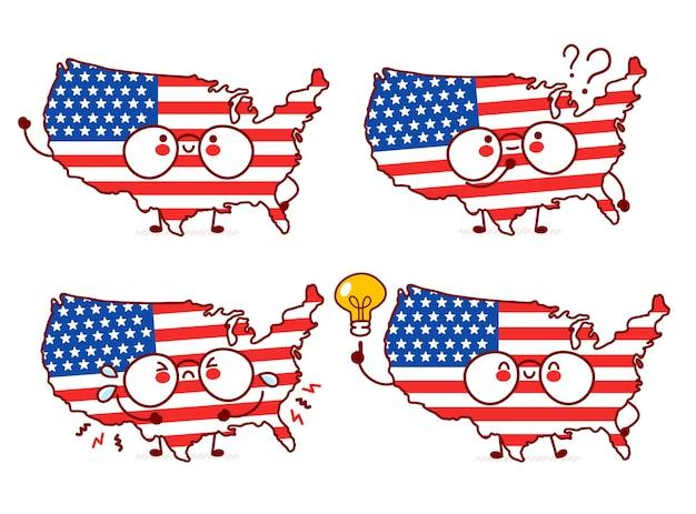 Ładny szczęśliwy zabawny mapa usa i zestaw znaków flagi