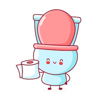 Ładny szczęśliwy zabawny papier toaletowy trzymać rolkę papieru.