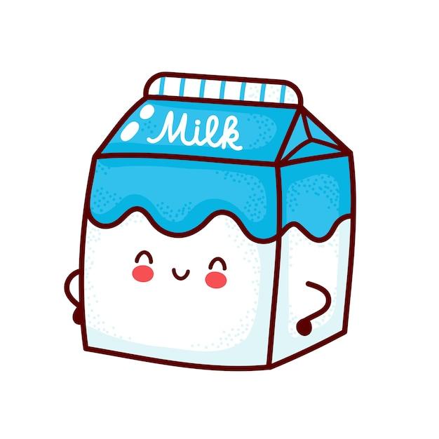 Ładny szczęśliwy znak mleka w pudełku