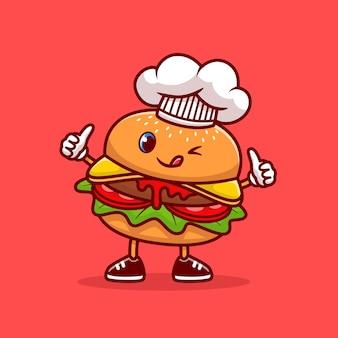 Ładny szef kuchni burger kciuki ikona ilustracja kreskówka. ikona kucharz jedzenie na białym tle. płaski styl kreskówki