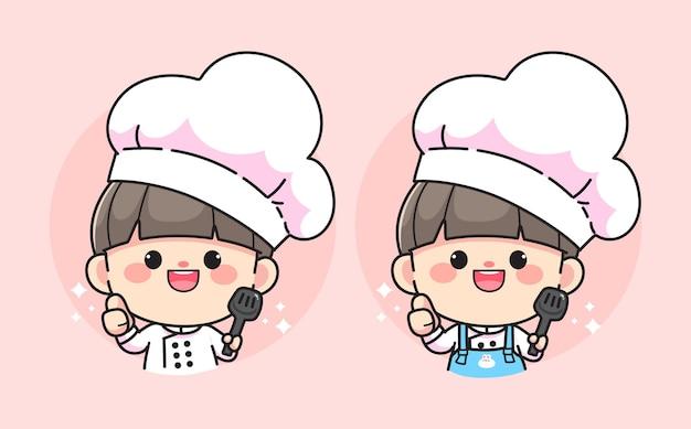 Ładny szef kuchni chłopiec uśmiechający się trzymający logo łopatki ręcznie rysowane ilustracja kreskówka sztuki