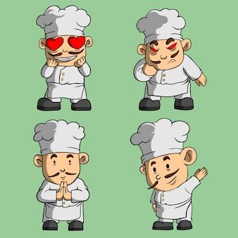 Ładny szef kuchni maskotka ręcznie rysowane stylu