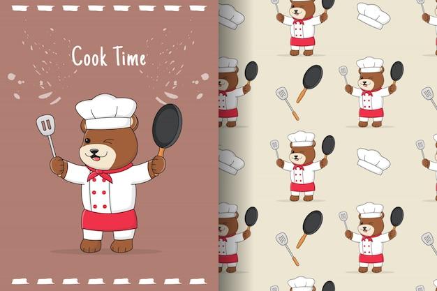 Ładny szef kuchni niedźwiedź wzór i karta