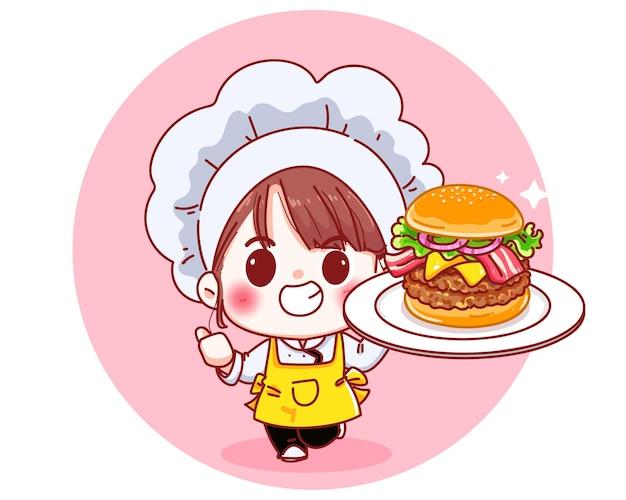 Ładny szef kuchni trzyma duży burger uśmiechnięta ilustracja kreskówka