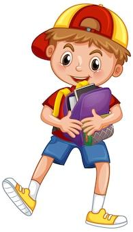 Ładny szkolny chłopiec trzymając plecak