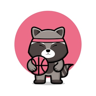 Ładny szop pracz grać w koszykówkę ilustracja kreskówka